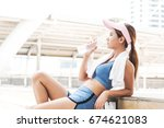 asian woman girl happy and stay ... | Shutterstock . vector #674621083