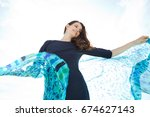 beautiful mature woman smiling...   Shutterstock . vector #674627143