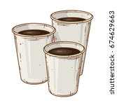 set of  three paper coffee cup... | Shutterstock .eps vector #674629663