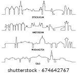 line art  stockholm  amsterdam  ... | Shutterstock .eps vector #674642767