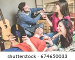 happy friends having party... | Shutterstock . vector #674650033