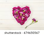 Garden Flowers In Heart Shape...
