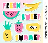 a set of retro style summer... | Shutterstock .eps vector #674650657