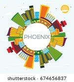phoenix skyline with color... | Shutterstock .eps vector #674656837