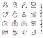 all kinds of wedding marriage... | Shutterstock . vector #674664967
