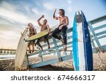 group of friends going to surf... | Shutterstock . vector #674666317