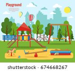 children's playground vector... | Shutterstock .eps vector #674668267
