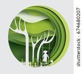 tree with swinging kid   paper ... | Shutterstock .eps vector #674680207