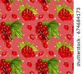 seamless vector red currant...   Shutterstock .eps vector #674684173