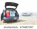 blue car with open trunk and... | Shutterstock . vector #674687287