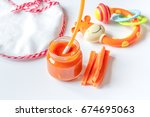 baby mashed with spoon in glass ... | Shutterstock . vector #674695063