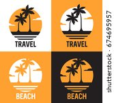 set of logotypes with the coast ... | Shutterstock .eps vector #674695957