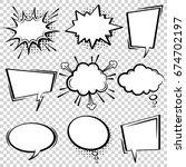 Comic vector speech box set.  Speech bubble set. Cartoon pop art expression speech cloud illustration. Comics book vector background template. Black and white. | Shutterstock vector #674702197