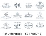set of raster sea food elements ... | Shutterstock . vector #674705743
