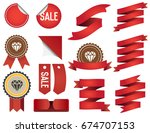 big set of ribbons and labels... | Shutterstock . vector #674707153