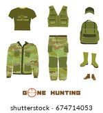 set of hunting clothes  vector... | Shutterstock .eps vector #674714053