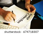 manager is holding debt... | Shutterstock . vector #674718307