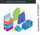 isometric sportswear set.... | Shutterstock .eps vector #674718847