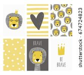print with cute lion. can be... | Shutterstock .eps vector #674724823