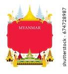 myanmar landmarks  culture ...   Shutterstock .eps vector #674728987