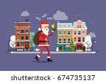 lovely flat design christmas... | Shutterstock .eps vector #674735137