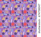 vector seamless pattern with... | Shutterstock .eps vector #674738347