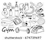 hand drawn doodle sport... | Shutterstock .eps vector #674739697