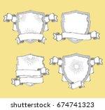 heraldic shield with various... | Shutterstock .eps vector #674741323