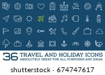 travel icons raster set  great... | Shutterstock . vector #674747617