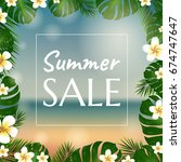 sale poster with palm trees and ... | Shutterstock .eps vector #674747647