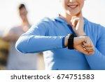 runner woman with heart rate... | Shutterstock . vector #674751583