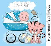 greeting card its a boy with... | Shutterstock .eps vector #674754823