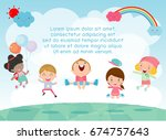 kids jumping on the playground  ... | Shutterstock .eps vector #674757643