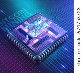 abstract cyber space with asic... | Shutterstock . vector #674758723