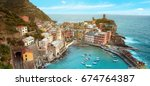 magical landscape with boats in ... | Shutterstock . vector #674764387