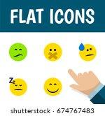 flat icon emoji set of asleep ... | Shutterstock .eps vector #674767483