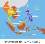 southeast asia map with country ... | Shutterstock .eps vector #674774317