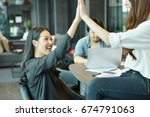 teamwork of asian business... | Shutterstock . vector #674791063
