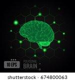 vector 3d wireframe polygonal... | Shutterstock .eps vector #674800063