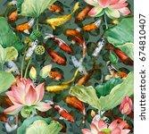 carp koi with flower lotus... | Shutterstock . vector #674810407