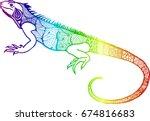 iguana. varan. lizard. doodle.... | Shutterstock .eps vector #674816683