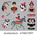 set of vintage female circus... | Shutterstock .eps vector #674817097
