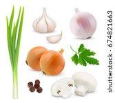 vegetables realistic... | Shutterstock .eps vector #674821663