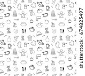 kitchen seamless pattern | Shutterstock .eps vector #674825497