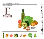 foods containing vitamin e.... | Shutterstock .eps vector #674828257