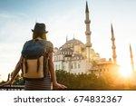 young beautiful girl traveler... | Shutterstock . vector #674832367