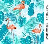 seamless pattern of flamingo ...   Shutterstock .eps vector #674836543