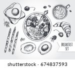 breakfast set. muesli with... | Shutterstock .eps vector #674837593