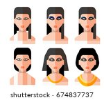 ancient egypt woman icon set ... | Shutterstock .eps vector #674837737