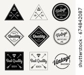 collection of raster vintage... | Shutterstock . vector #674842087